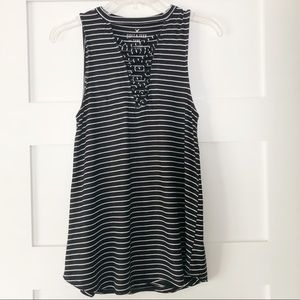 AEO Black & White Striped Lace Up Tank Top